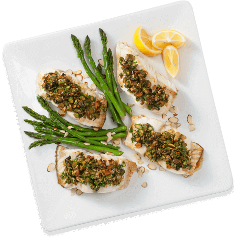 Grouper with Almond and Asparagus